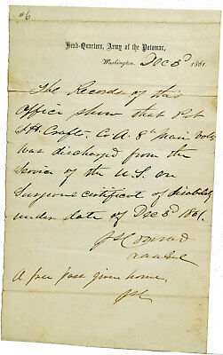 Original !  Civil War Document carried by Pvt. Samuel H. Crafts – 8th Maine Inf.
