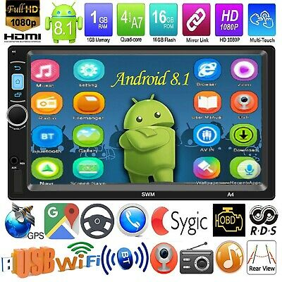 7'' 2DIN Android8.1 Car Stereo MP5 Player GPS Navi RDS WiFi Bluetooth FM Radio