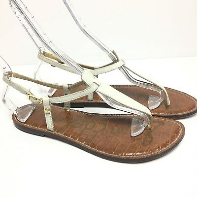 12f572ee6bfd Sam Edelman Womens Gigi Thong Sandals Size 8 White Leather Strappy
