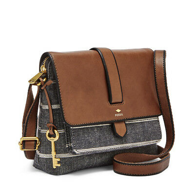 New Fossil Kinley Small Crossbody Bag Chambray Blue Stripe Brown Leather  Flap c2c22d00ca424