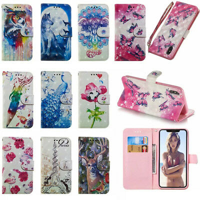 For Apple iphone XS Max XR 8 7 6 3D Painted Leather Flip Wallet Stand Case Cover