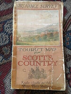 "Ordance Survey Map Tourist Map Of Scott's Country Scotland 1"" to 1 Mile"