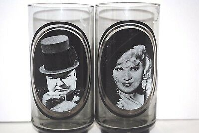 Mae West WC Fields 1979 Vintage Arbys Collectible Glasses 1 each Movies (W228)