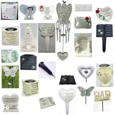 Dad Memorials - Heart Butterfly Wind Chime, Grave Plaque, Memorial Book,Vases