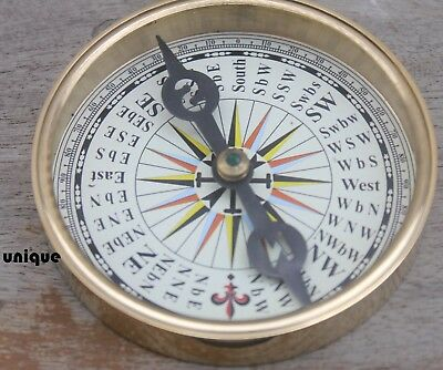 Pocket Nautical Shiny Brass Flat Compass Vintage Maritime Collectible Astrolabe