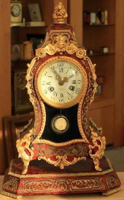 Antique French Louis Xv Style 8 Day 2 Train Boulle Bracket Clock Matching Stand