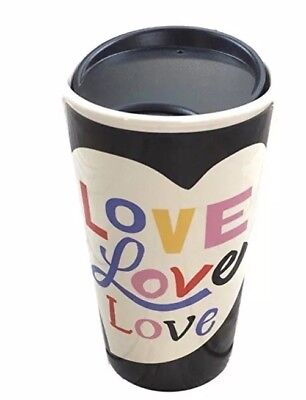 New STARBUCKS TRAVEL MUG LOVE  Heart Ceramic 12 Oz Black With Lid Tea Coffee