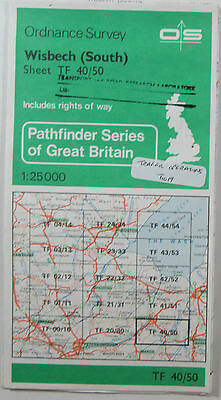 1984 old vintage OS Ordnance Survey 1:25000 Pathfinder map Wisbech South TF40/50