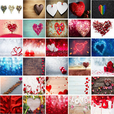 Romantic Red Heart Photography Backdrop Background Wall Cloth Studio Photo Props