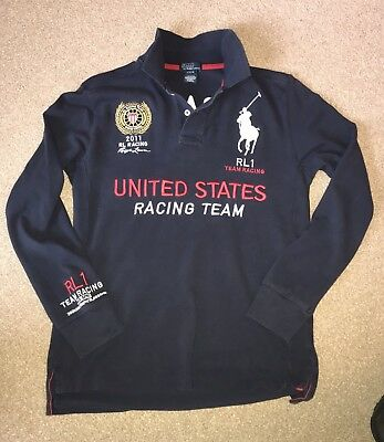 Boys Navy Ralph Lauren Long Sleeve Polo Shirt Age 14/16