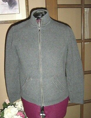 d6b1859a43 Jones New York Sport Women Sweater Size PM Cardigan Cable Knit Zipper Gray  EC