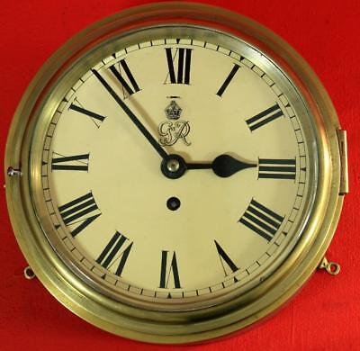 """Wwii George Vi 8 Day 8"""" Dial Marine Ships Clock Numbered English Movement"""