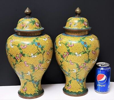 Pair Large Antique Chinese Cloisonne Ginger Jar Urns Yellow w Flowers