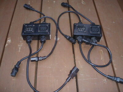 LIGHTING ADAPTORS (ELVCON BULGIN) x 2 LEADS ELVCON PLUG/ SOCKET TO 4 x IEC MAINS