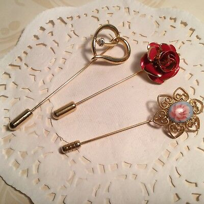 Lot Of Three Vintage Stick Hat Lapel Pins Rose Heart & Hand Painted Porcelain