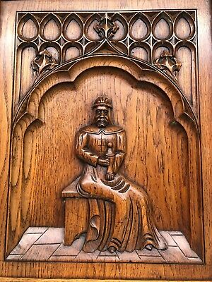 Stunning Antique Gothic Medieval Style Carved door panel in wood circa 1900