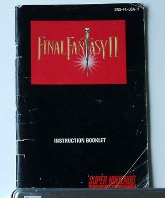 """Final Fantasy 2 II Super Nintendo SNES """"Manual only""""   AUTHENTIC"""