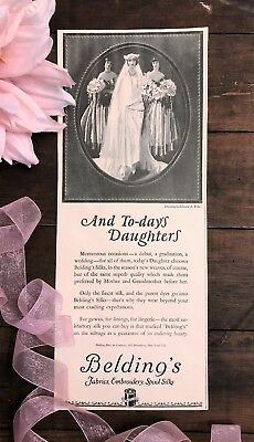 Antique Beldings Silk Fabrics Threads Print Ad Early 1920s Flapper Bride Vintage