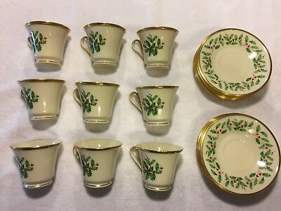 (9) LENOX Holiday Holly Berries Tea Cup & Saucer Settings, (4) Extra Saucers!!!