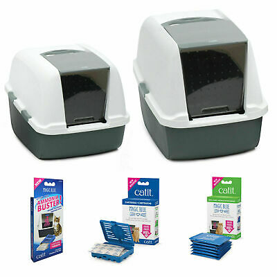 Catit Magic Blue Hooded Cat Litter Box Tray Regular Jumbo and Ammonia Busters
