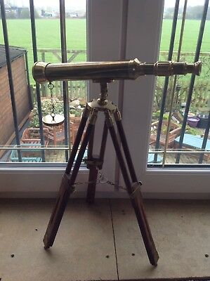 VERY ATTRACTIVE OLD, LARGE Hardwood & Solid Brass TELESCOPE.ADJUSTS. WORKS WELL