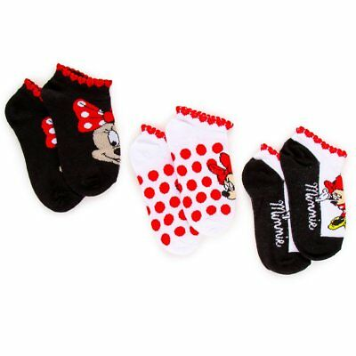 NWT Disney Minnie Mouse 3-Pack Ankle Socks Girls 4-6 Shoes Size 7-10