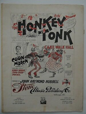 Large Format Sheet Music AT THE HONKEY TONK CAKE WALK HALL Black Americana 1899