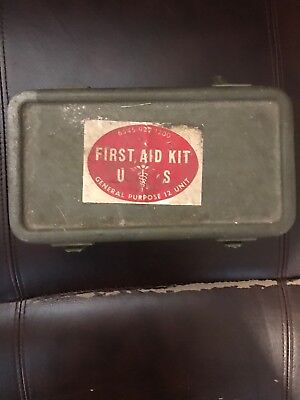 First Aid Kit Metal Box Vintage US Army Green Stamped Good Condition