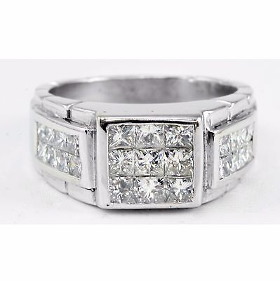 14k White Gold Invisible Set Princess Square Diamond Cluster Ring Band 1.80 TCW