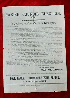 Victorian Election Leaflet - Parish Of Withington Manchester 1896