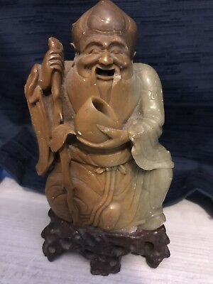 Qing Soapstone Wiseman Figurine With Stand
