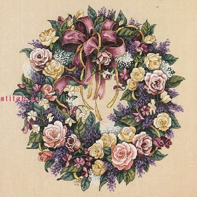03837 Dimensions Wreath of roses and bows cross stitch pattern PDF download