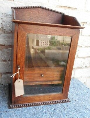 Vintage Small Oak Glass Fronted Cupboard with Key