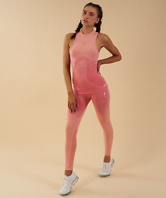 f781a79dea GYMSHARK WOMENS OMBRE SEAMLESS VEST PEACH CORAL Small Style  GLVT039 ...