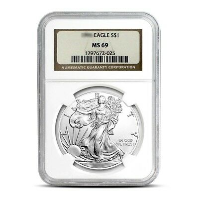 2008 1 oz American Silver Eagle Coin NGC MS69 .999 Pure Brilliant Uncirculated