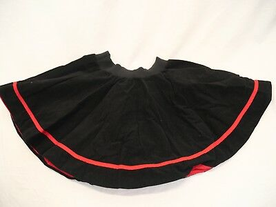 Vintage 1950s Girls Cinderella Org. Black Cotton Corduroy Circle Skirt Red Sz 10