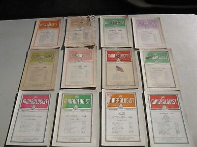 1944 ~ All 12 Issues ~ Mineralogist Magazine (Gems Lapidary) *ships Free 2 Us!