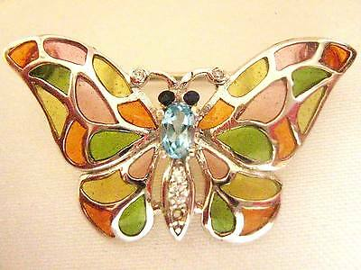 Sterling Silver Pink Green Orange Glass Butterfly Bug 2 in 1 Brooch Pin Pendant
