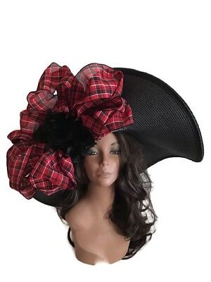5249243f Kentucky Derby Hat Black Red Wide Brim Wedding Church Melbourne Cup Feathers