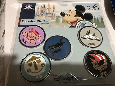 Disney Park Dated 2018 Icons Mickey Mouse More 5 Pin Booster Pack Set NEW/SEALED