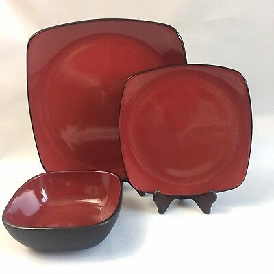 LOT of 3 CORELLE  STONEWARE Hearthstone CHILI RED Square PLATES BOWLS