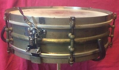 """1920s Ludwig & Ludwig 4 x 14"""" 2 pc heavy NOB snare drum Rare vintage brass"""