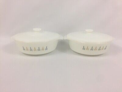 Set of two Modern FIRE KING Candle Glow Oven Ware Casserole 1 1/2 Qt. with Lid