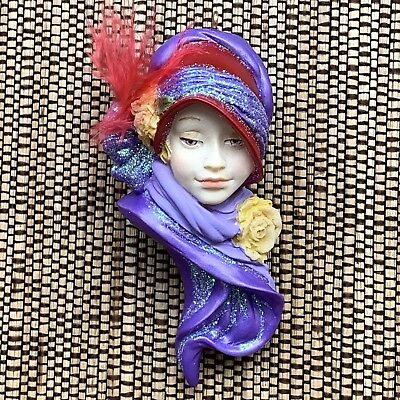Christmas Ornament Lady Head Woman Face Resin Flapper Victorian Purple Red NEW