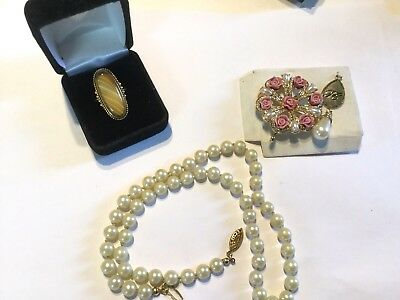 Lot Of Vintage To Avon Jewelry pendants Faux Pearl gold clasp necklace  Ring