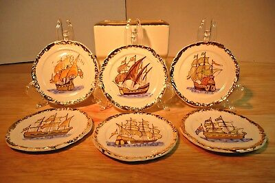 Antique Hand Painted SHIP Coasters GOLD Trim White Ceramic 6 With Holder RARE