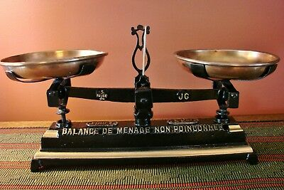 Antique Superb French Country Kitchen Scale Force 5 Kilo Scales Vintage Weights