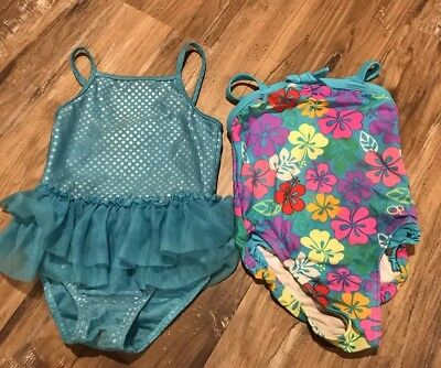 *Lot Of 2* Girls 4t Bathing Suits Blue Floral Tutu