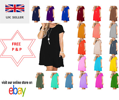 Ladies Women Girls Short Sleeve Swing Dress Top Plain Skater Dresses Tops Vest