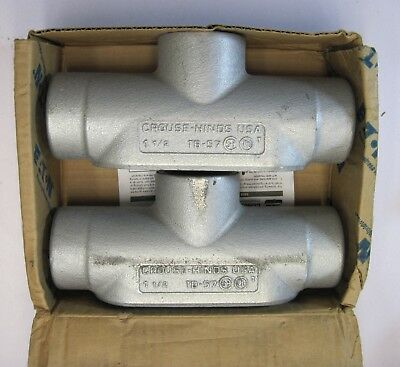 """Box of 2 Crouse Hinds TB57 1-1/2"""" T Condulet Body Form 7 Conduit Body"""